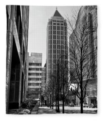 One Atlantic Center In Black And White Fleece Blanket