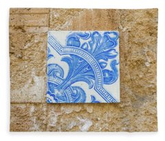 One Blue Vintage Tile  Fleece Blanket