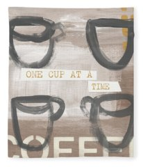 One Cup At A Time- Art By Linda Woods Fleece Blanket