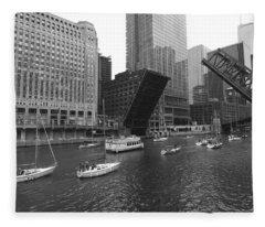 Open Bridges In Chicago Fleece Blanket