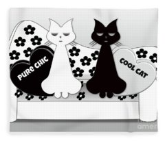 Opposites Attract - Black And White Cats On The Sofa Fleece Blanket