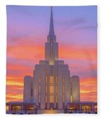 Oquirrh Mountain Temple IIi Fleece Blanket