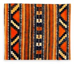 Orange Abstact Pattern Lines And Stripes Fleece Blanket