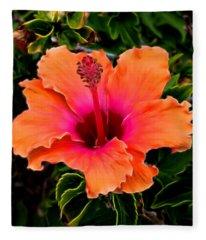 Orange And Pink Hibiscus 2 Fleece Blanket