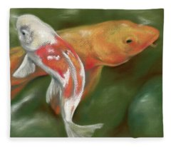 Orange And White Koi With Mossy Stones Fleece Blanket