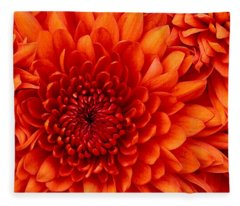 Orange Bloom Fleece Blanket