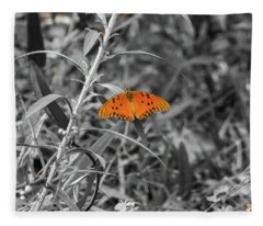 Orange Butterfly In Black And White Background Fleece Blanket