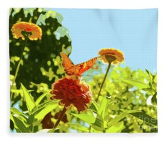 Orange Butterfly On Zinnia On Sunny Day Fleece Blanket