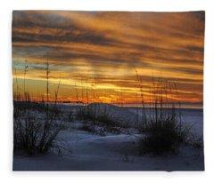 Orange Clouded Sunrise Over The Pier Fleece Blanket