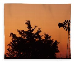 Orange Dawn With Windmill Fleece Blanket