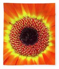 Orange Flower Macro Fleece Blanket