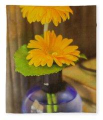 Orange Flowers Blue Vase Fleece Blanket