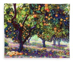 Orange Grove Of Citrus Fruit Trees Fleece Blanket