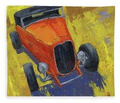 Orange Hot Rod Roadster Fleece Blanket