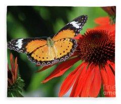 Orange Lacewing Fleece Blanket