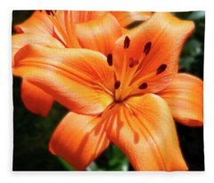 Orange Lily Joy Fleece Blanket