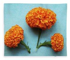 Orange Marigolds- By Linda Woods Fleece Blanket