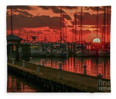 Orange Marina Sunrise Fleece Blanket