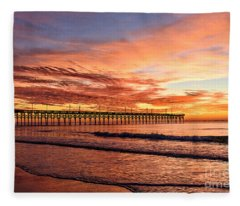 Orange Pier Fleece Blanket