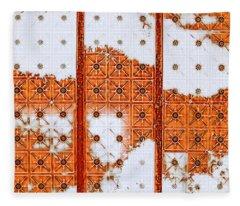 Fleece Blanket featuring the mixed media Orange Scented Bleach by Lita Kelley