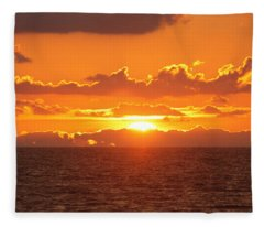 Orange Skies At Dawn Fleece Blanket