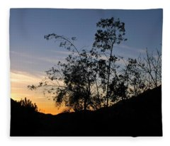 Orange Sky Nature Silhouette Fleece Blanket