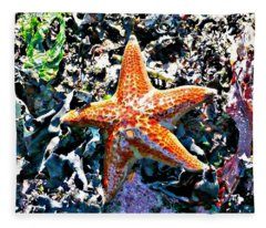 Fleece Blanket featuring the photograph Orange Starfish by 'REA' Gallery