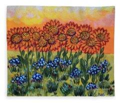 Orange Sunset Flowers Fleece Blanket