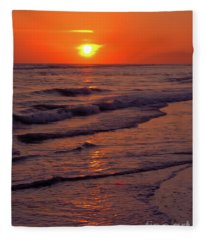 Orange Sunset Fleece Blanket