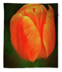 Fleece Blanket featuring the photograph Orange Tulip Painting Neo Rembrandt Style by Matthias Hauser