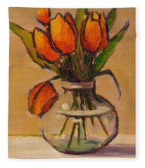 Orange Tulips Fleece Blanket