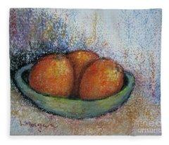 Oranges In Celadon Bowl Fleece Blanket