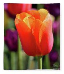 Orange Tulip Square Fleece Blanket