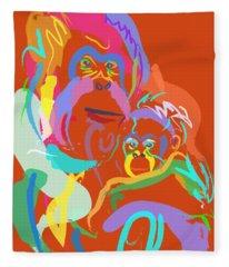 Orangutan Mom And Baby Fleece Blanket