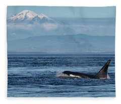 Orca Male With Mt Baker Fleece Blanket