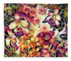Orchid Garden II Fleece Blanket