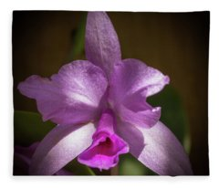 Orchid In The Shadows Fleece Blanket