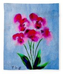 Orchids Abstract Fleece Blanket