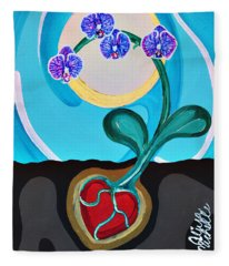 Orchids For My Love Fleece Blanket