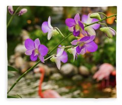 Orchids In Paradise Fleece Blanket