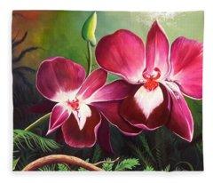 Orchids In The Night Fleece Blanket