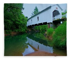 Oregon Covered Bridge Fleece Blanket