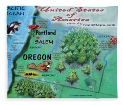 Oregon Fun Map Fleece Blanket