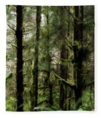 Oregon Old Growth Coastal Forest Fleece Blanket