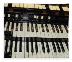 Hammond Organ Keys Fleece Blanket