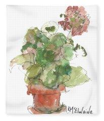 Original Buspaintings Geranium Watercolor Painting By Kathleen Mcelwaine Fleece Blanket