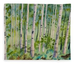 Original Watercolor - Summer Aspen Forest Fleece Blanket