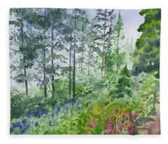 Original Watercolor - Summer Pine Forest Fleece Blanket