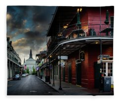 Orleans Street To St Louis Cathedral Fleece Blanket