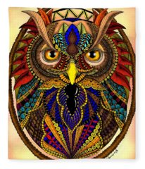 Ornate Owl In Color Fleece Blanket